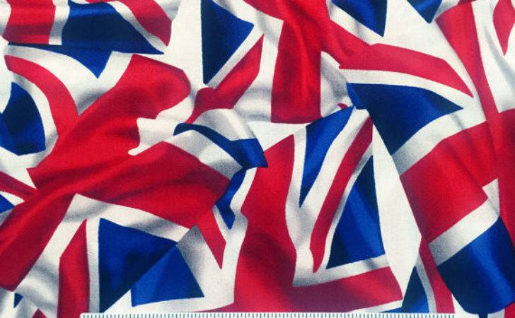 British Flag Red White Blue Cotton Quilt Fabric Yard