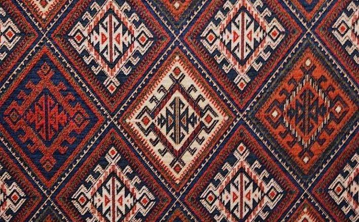 Brockhall Designs Kilim Weave Chenille Navy Red Bone Fabric