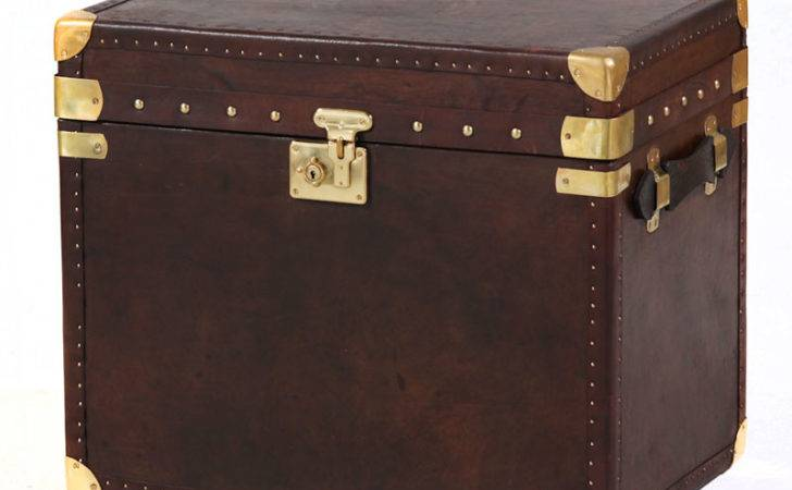 Brown Leather Storage Trunk Medium Chests Trunks