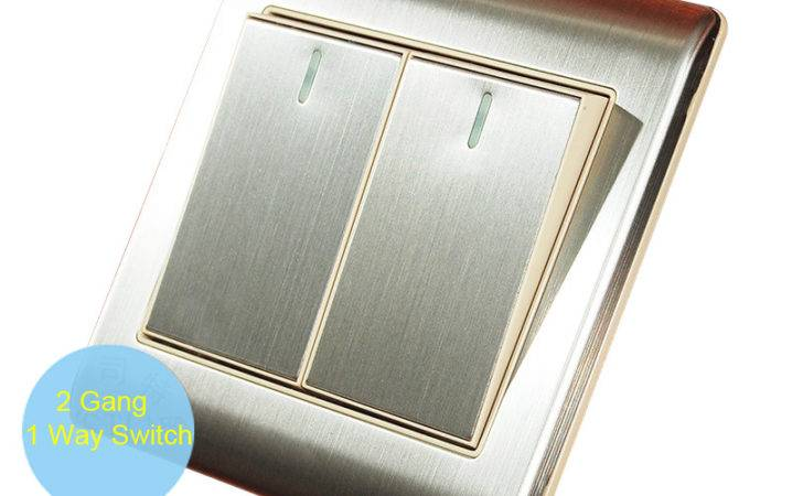 Brushed Stainless Steel Double Push Button Single Way