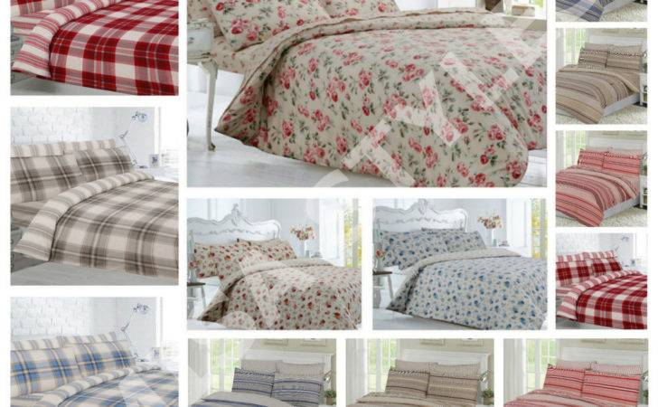 Brushed Thermal Cotton Flannelette Floral Check Quilt