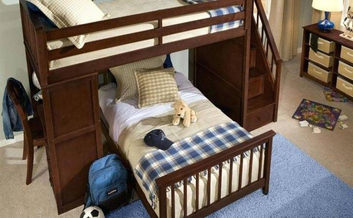 Bunk Beds Staircase Kids Bunks Metal Twin Over