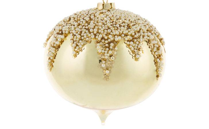 Buy Amara Large Glass Pearl Christmas Bauble Gold
