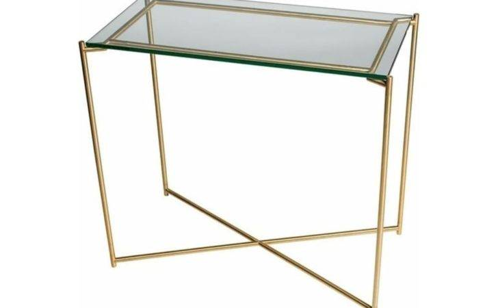 Buy Clear Glass Small Console Table Brass Base Fusion