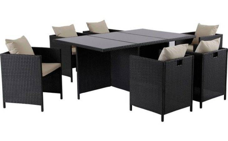 Buy Hand Woven Rattan Effect Cube Seater Patio Set