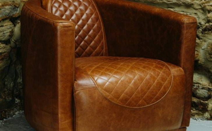 Buy Quilted Vinatge Italian Leather Tub Chair Armchair