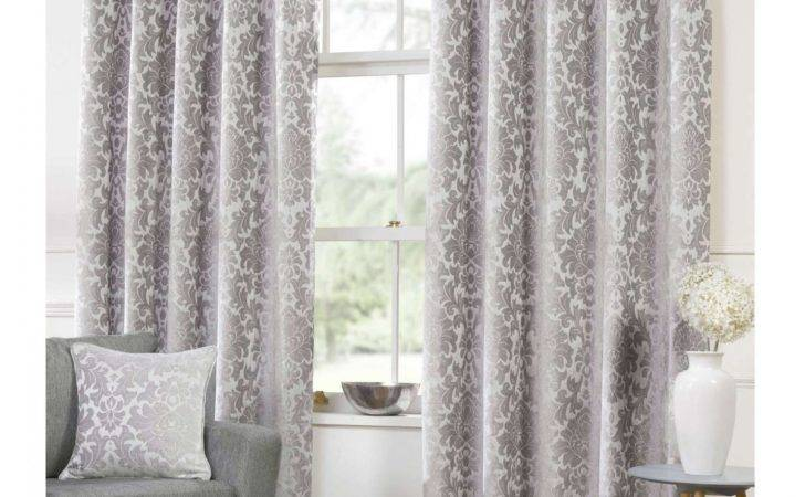 Camden Damask Silver Woven Chenille Lined Eyelet Curtains