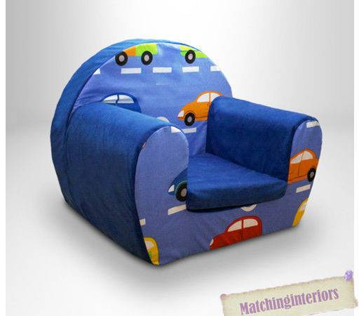 Cars Traffic Blue Childrens Kids Comfy Foam Chair Toddlers
