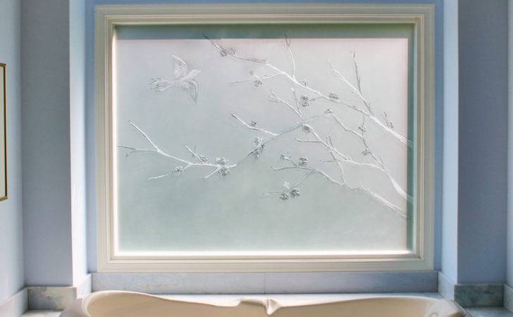 Carved Etched Glass Window