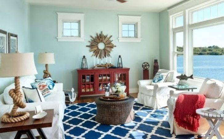 Casual Living Room Lots Nautical Decorations