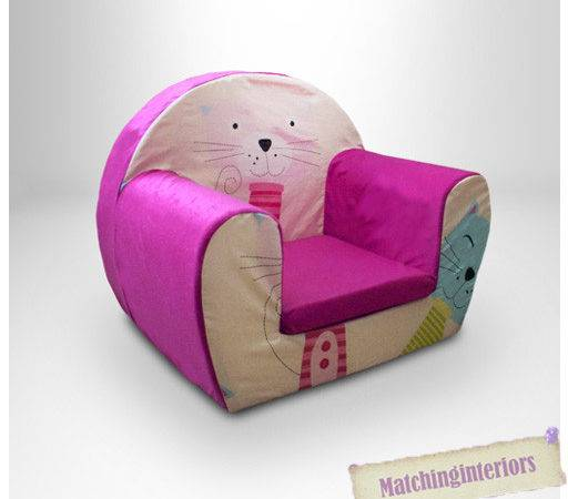 Cat Nap Pink Childrens Kids Comfy Foam Chair Toddlers