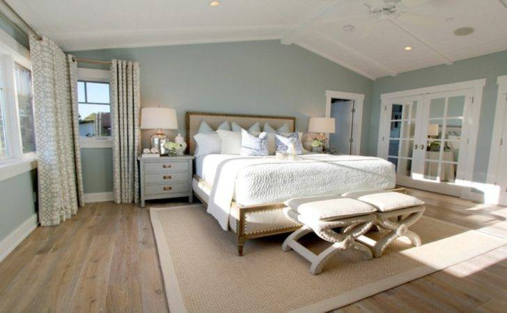 Ceiling Floor Drapes Light Blue Walls Master Bedroom