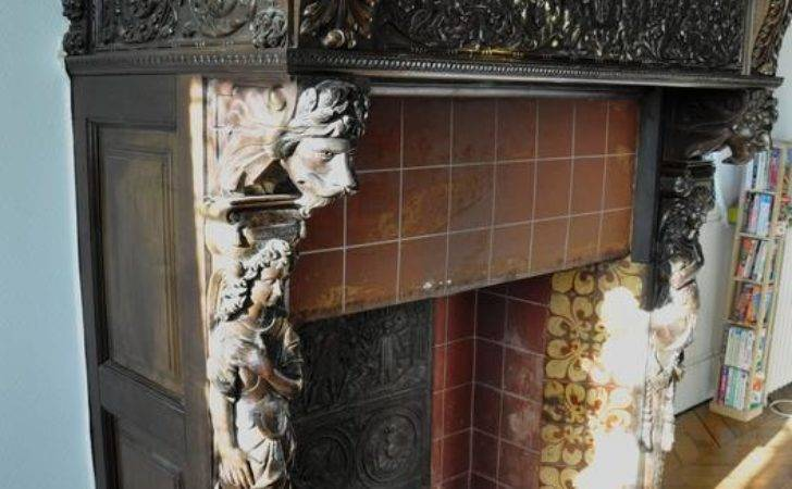 Century Carved Walnut Fireplace Painting After
