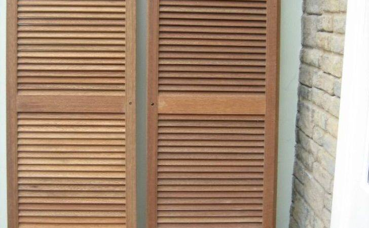 Cheap Pair Wood Louvre Doors Diy Cupboard Wardrobe Shutter