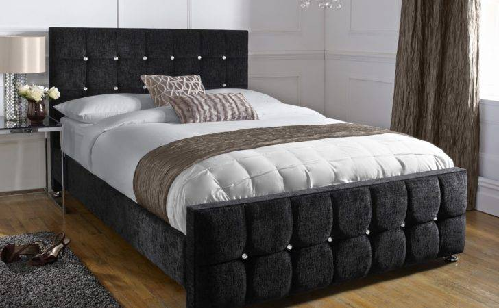 Chenille Black Double Barcelona Bed Handcrafted