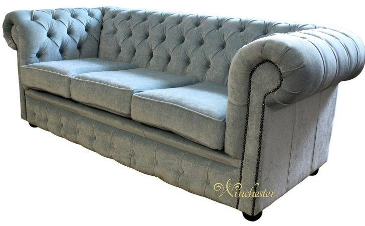 Chesterfield Seater Settee Velluto Duck Egg Fabric Sofa