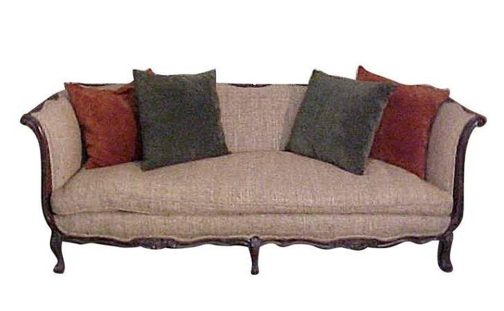 Chic French Country Walnut Sofa Tussah Silk Upholstery
