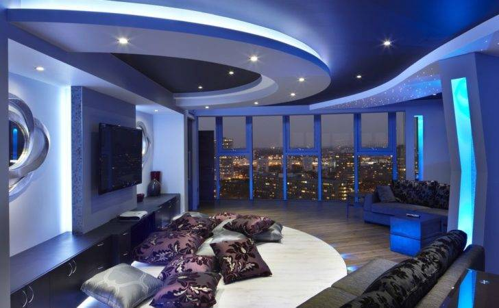 Chill Out Room Home Theater Contemporary Sky Line
