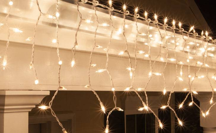 Christmas Icicle Light Clear Lights White Wire