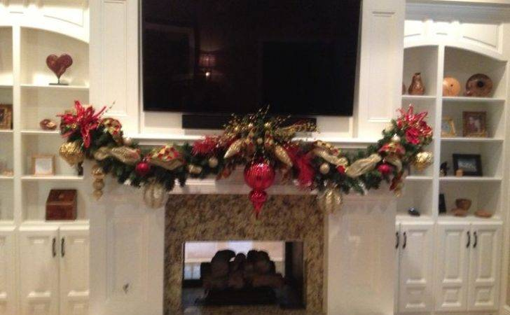 Christmas Mantel Garland Vintage Fireplace