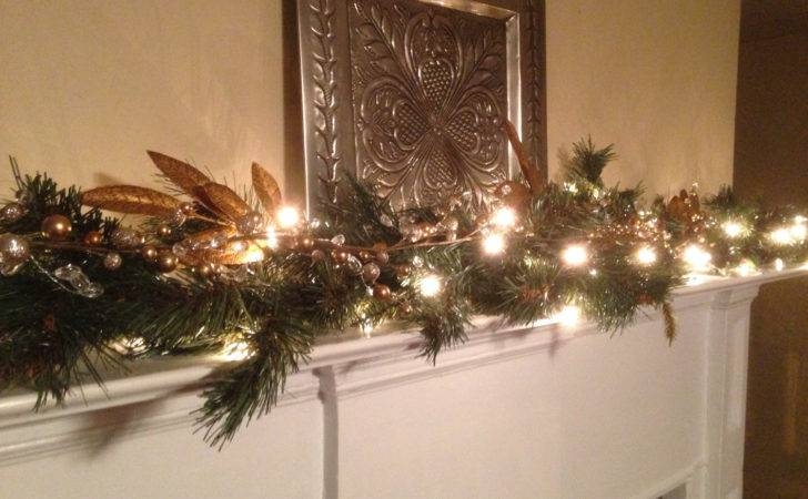 Christmas Mantle Garland Pine Gold Leaf