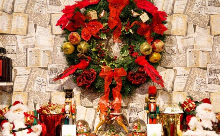 Christmas Wreath Above Fireplace Public