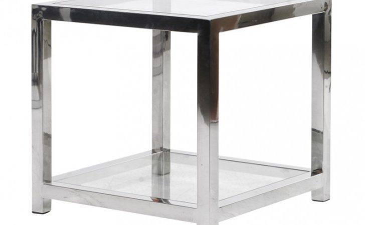 Chrome Glass Cube Side Table