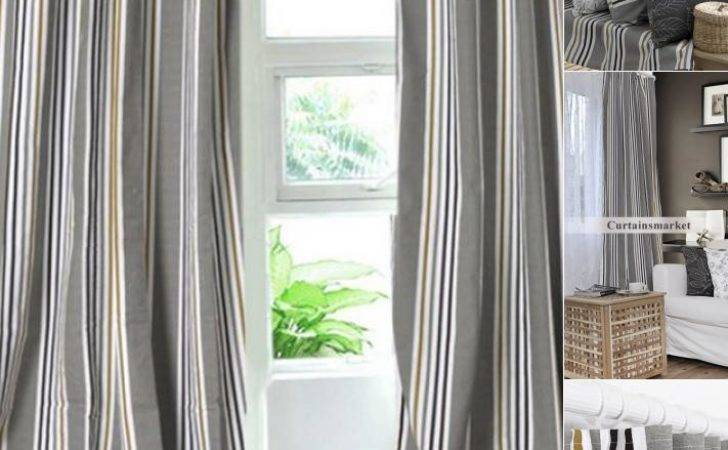 Classic Blackout Modern Gray Striped Curtains