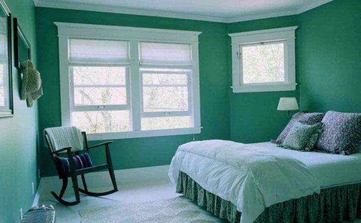 Classic Green Bedroom Painting White Window