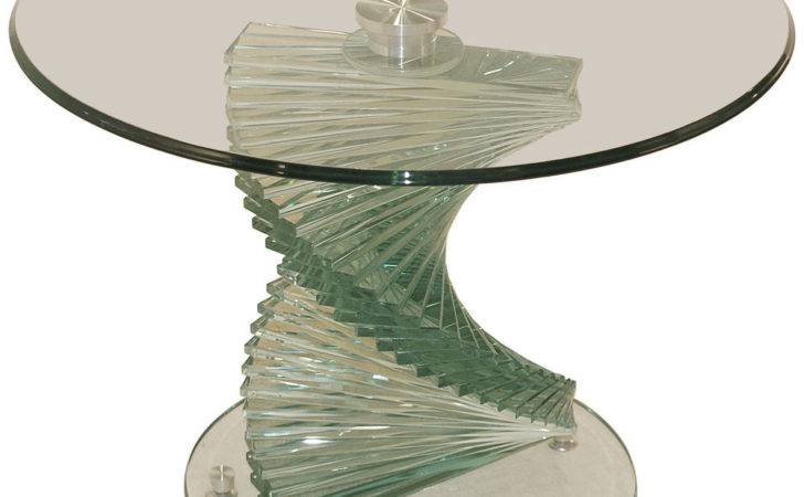 Clear Glass End Lamp Small Round Side Table Ebay