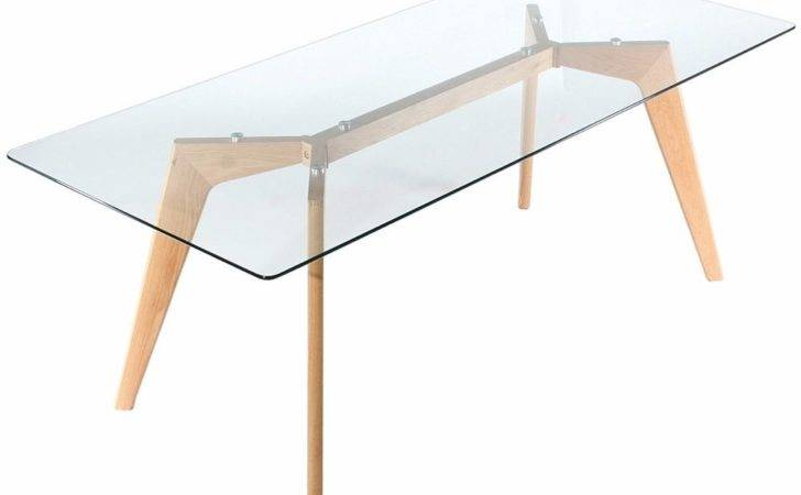 Clear Glass Table Oak Wood Legs Kitchen Dining Room