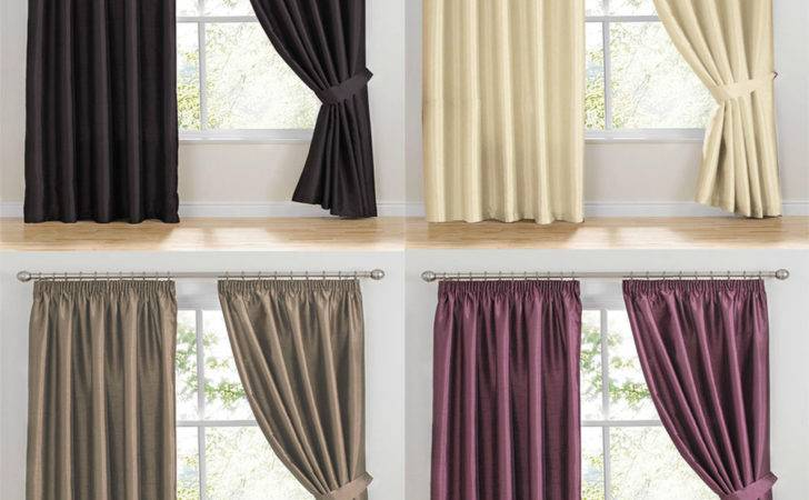 Como Faux Silk Ready Made Curtains Pencil Pleat Tape Top