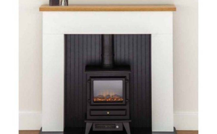 Complete White Fireplace Suite Electric Stove