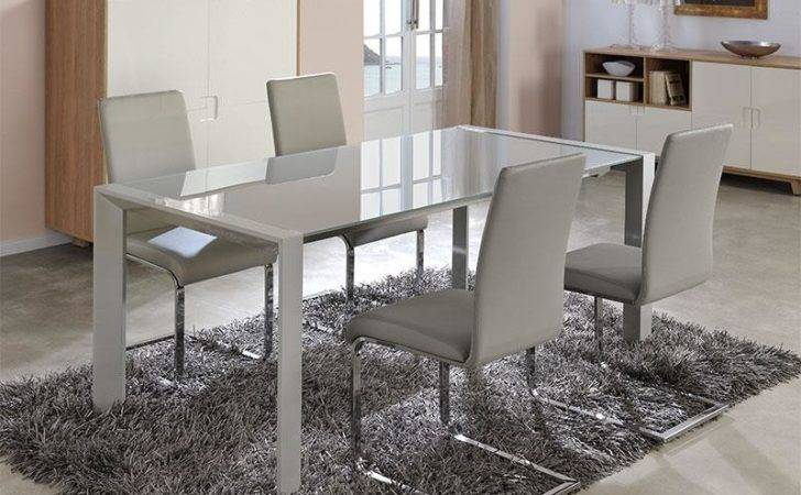 Contemporary Extending Glass Dining Table White