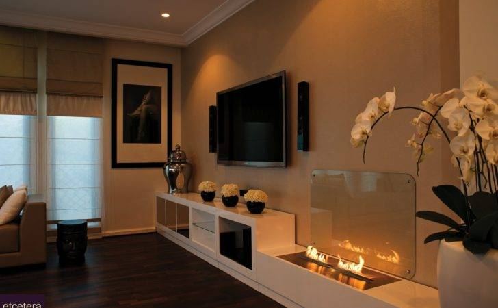 Contemporary Open Flame Fireplace Interior Design Ideas