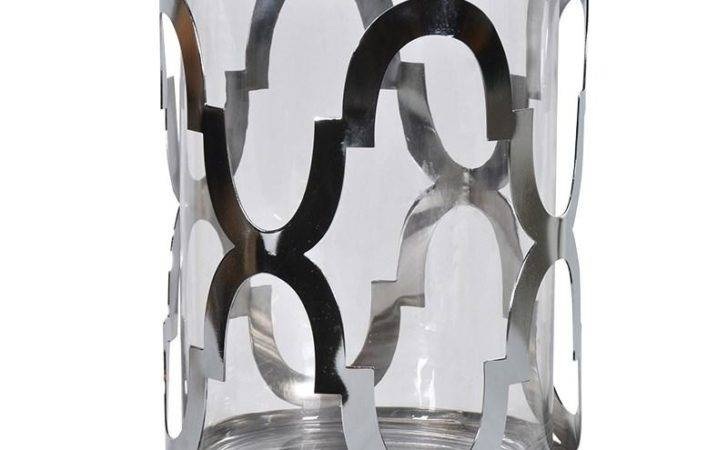 Contemporary Silver Hurricane Vase Candle Holder