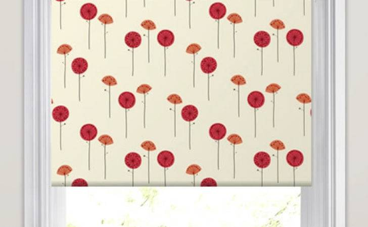 Contemporary White Orange Red Poppy Patterned Roller Blinds