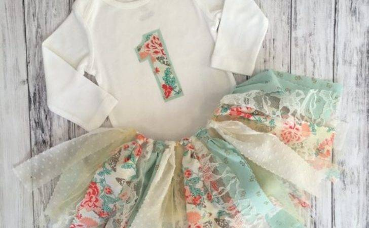Coral Mint First Birthday Outfit Shabby Chic