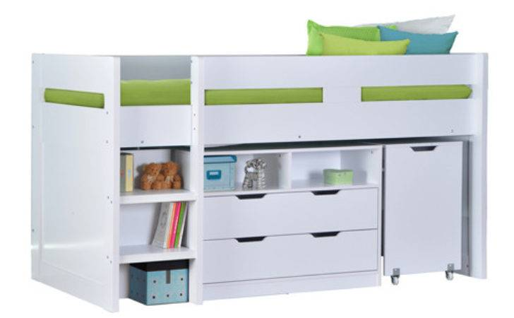 Cosmo Mid Sleeper Bed White Pull Out Desk