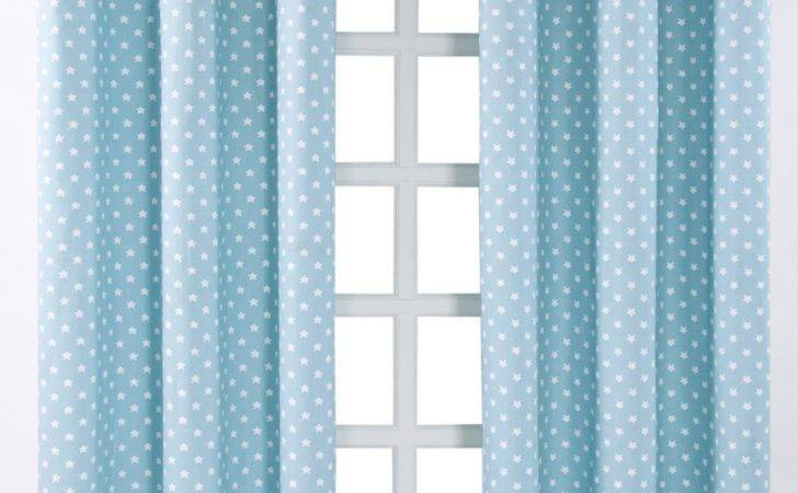 Cotton Stars Blue Ready Made Eyelet Curtain Pair Homescapes