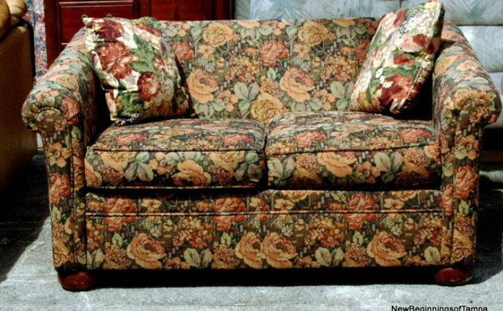 Couch Floral Print Dark Color Flower Sofa