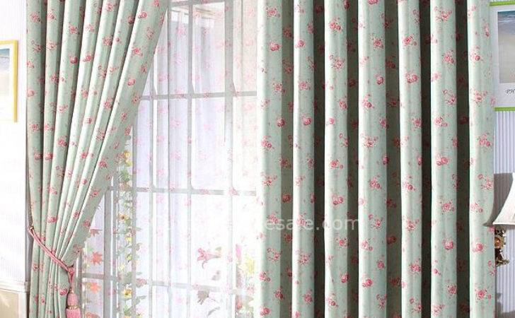 Country Floral Blackout Two Panels Large Ready Made Curtains