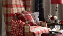 Country Living Room Tartan Armchair Decorating