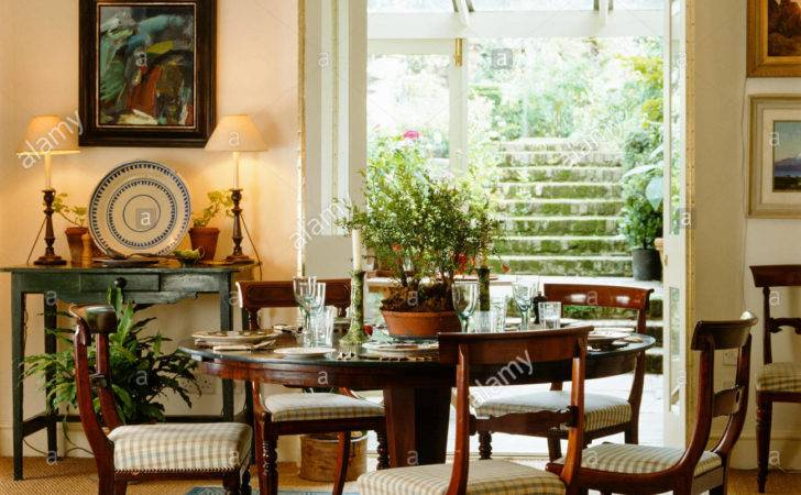 Country Style Dining Room French Doors Leading