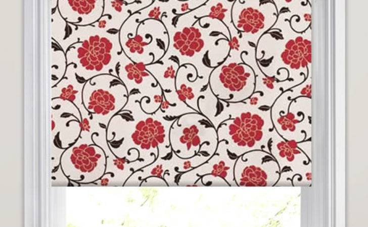 Cream Hessian Beige Red Floral Patterned Roller Blinds