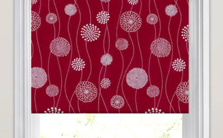 Crimson Red White Abstract Flower Head Patterned Roller