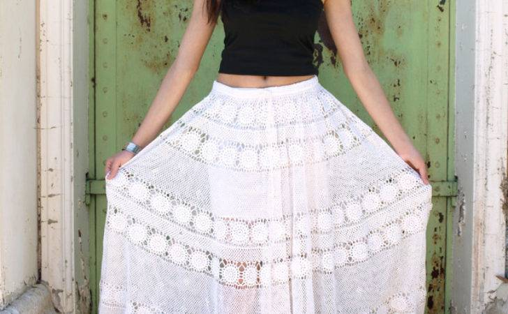 Crocheted Round Lace Tablecloth Skirt Dress Upcycled