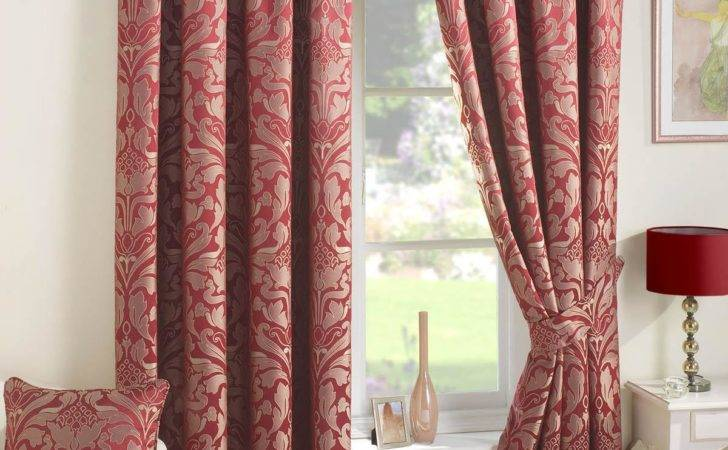 Crompton Ready Made Lined Curtains Red Delivery