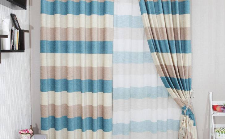 Curtain Inspiring Blue Striped Curtains Black White