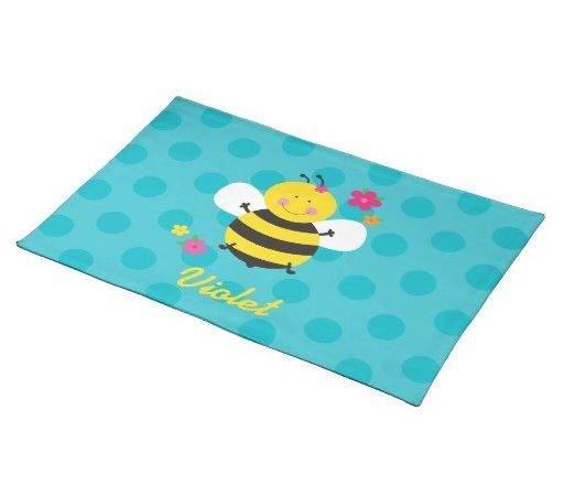 Cute Bee Personalised Placemats Zazzle